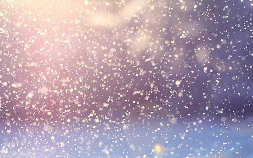 light reflecting on falling snow