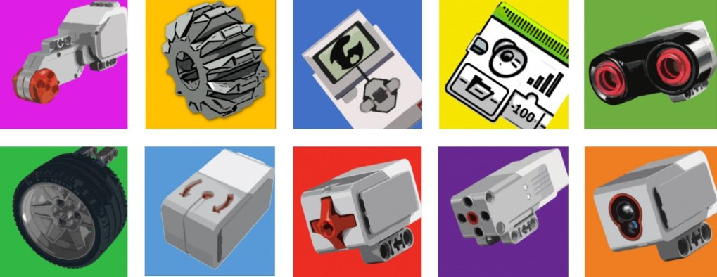 Grid of MINDSTORMS® bits and pieces
