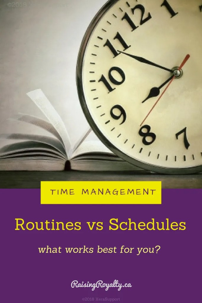 Routines vs Schedules: what's the difference? When you have a busy family, which works best? That entirely depends on the kind of person you are!