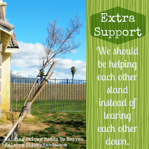 Extra Support - We should be helping each other stand instead of tearing each other down. - Raising Sticky Hands To Heaven