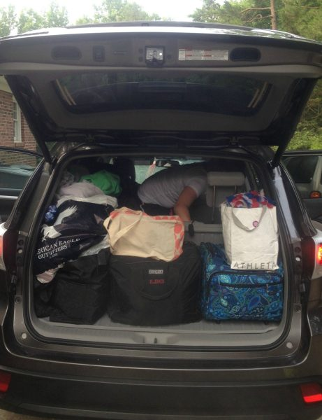Packing bags in car before trip