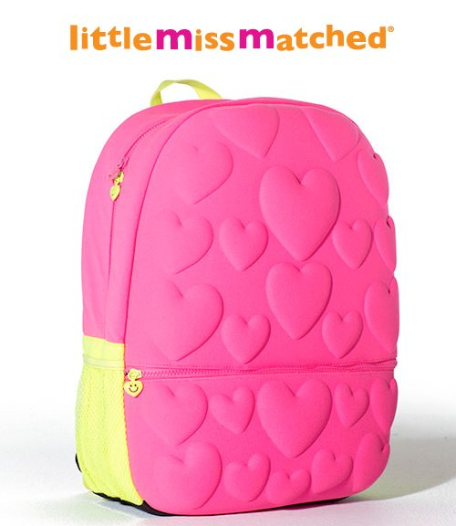 Neon Pink Hearts Bubble Backpack