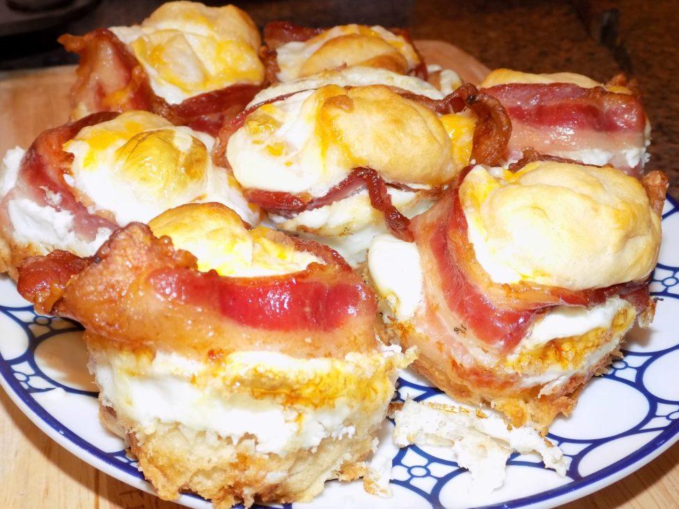 Plate filled with breakfast sandwich scramblers.