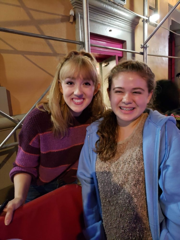 Actress Becca Peterson with theater goer