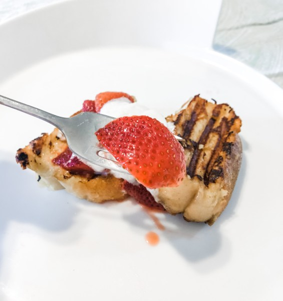 Grilled French toast on plate
