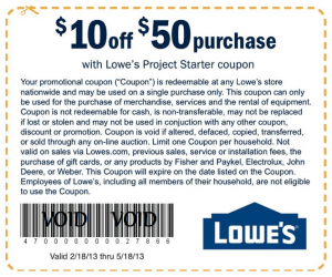 Lowes 10 off 50 Purchase Coupon  Raising Whasians