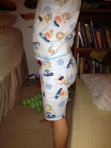 Close up of Goodnites underwear under pajamas