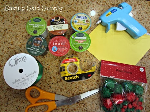 DIY K-Cup Christmas Tree Craft supplies