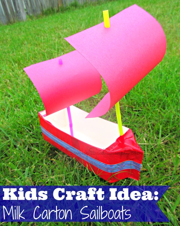 kids-craft-milk-carton-boat This kids craft milk carton sailboat is the perfect kids summer diy. This kids diy is the perfect water play activity for kids for summer. #KidsCrafts #STEM #Crafting #Craft #DIY