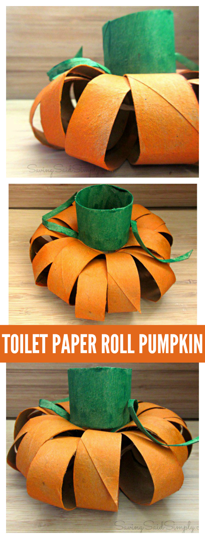 Toilet paper roll pumpkin craft pinterest