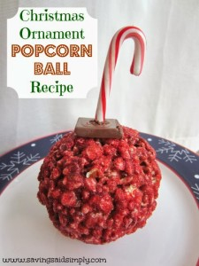 Christmas ornament popcorn ball