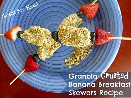 Granola crusted banana breakfast skewers