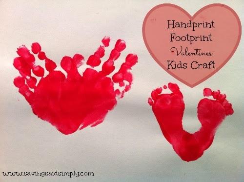 Handprint footprint valentines