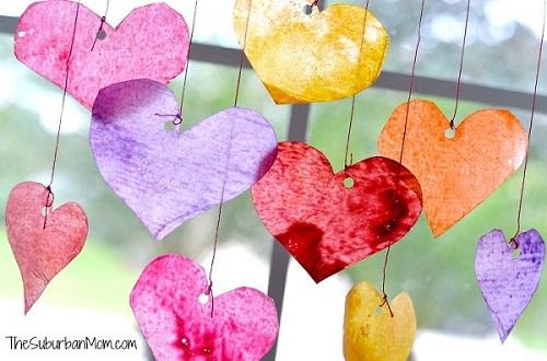 Valentines day craft sun catchers