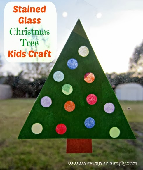 Christmas tree stained glass craft