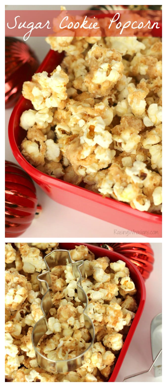 Redbox movie holiday gift idea - Sugar Cookie Popcorn Recipe + Redbox Giveaway | make this festive and easy homemade popcorn for the holidays, perfect for gifting! - This popcorn recipe would be perfect as a teacher gift. #HolidayGift #TeacherGift #Recipe #Snack
