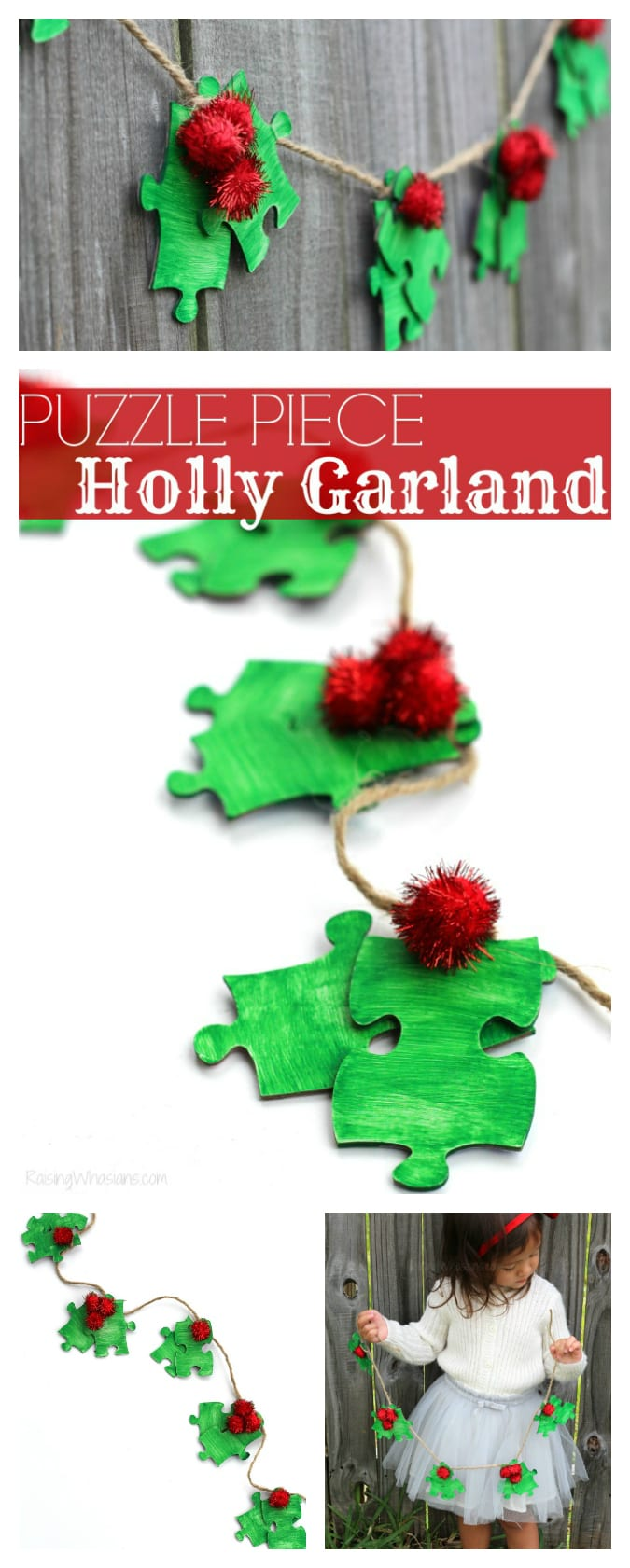 Upcycled puzzle piece Christmas craft Puzzle Piece Holly Garland Christmas Kids Craft | make this easy upcycled kids craft for the holidays using old puzzle pieces! #Christmas #Craft #KidsCraft