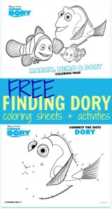 FREE Finding Dory Coloring Sheets + Kids Activities #FindingDory