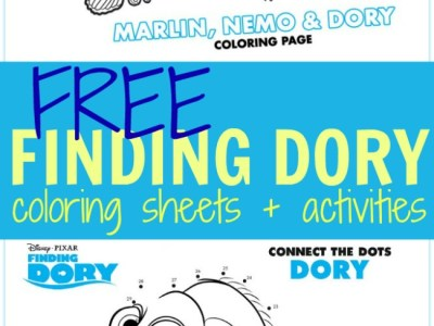Free finding Dory coloring sheetes kids activities