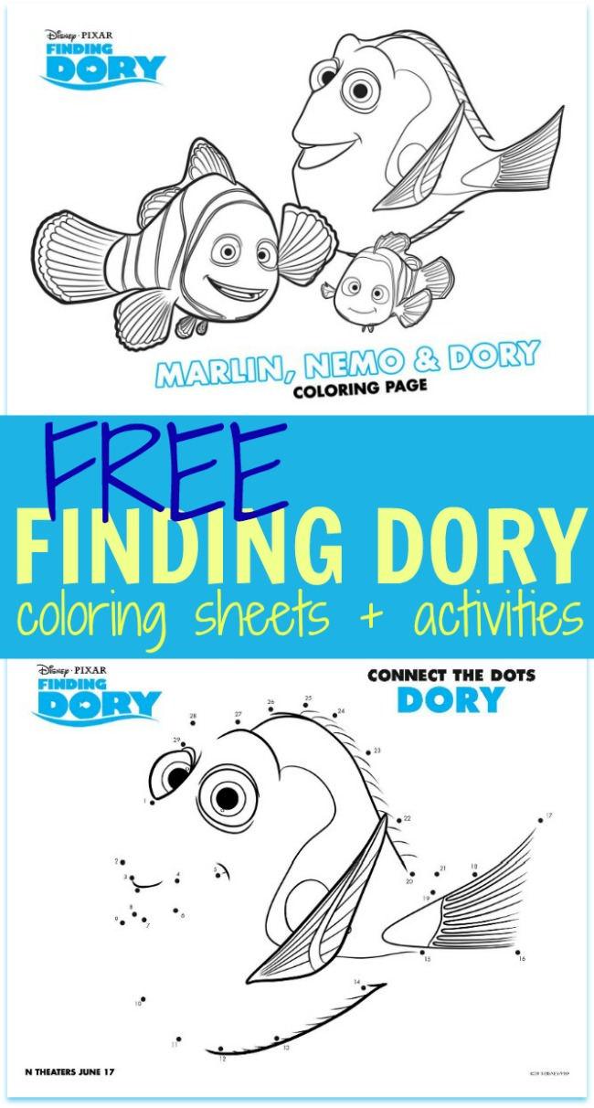 Free finding Dory coloring sheets kids activities