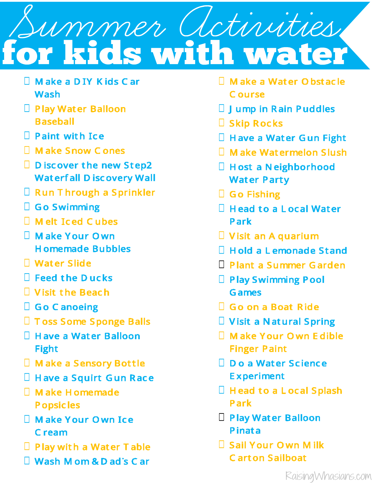 40 Water Summer Activities For Kids Printable Checklist