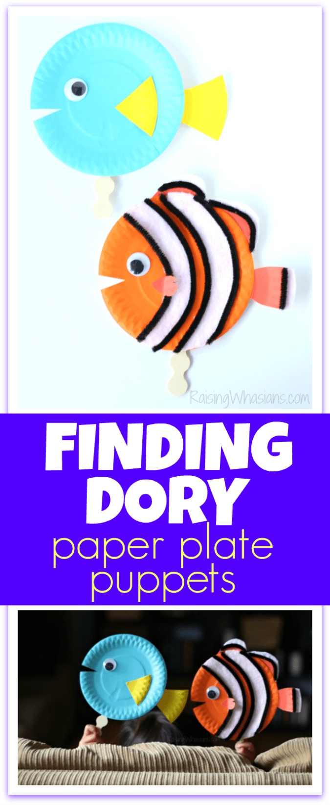 Finding Dory craft paper plate puppets Finding Dory Craft Paper Plate Puppets #FindingDoryEvent | Easy DIY Finding Dory Craft Idea with paper plates & Disney inspiration. Make Nemo & Dory #FindingNemo #FindingDory #Disney #Craft #PartyPlanning #DIY #DisneyParty #DisneyDIY