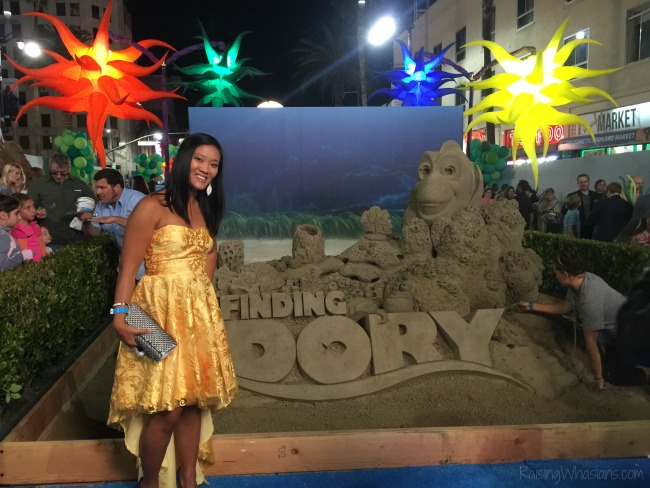 Finding Dory red carpet sand sculpture