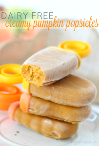 Creamy Pumpkin Popsicles {No Dairy} | Transition your summer treat to fall w/ an easy pumpkin popsicle recipe! Only 3 ingredients, dairy free. Allergy friendly treat #Dessert #Recipe