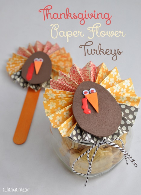 How to make a Thanksgiving paper flower turkey