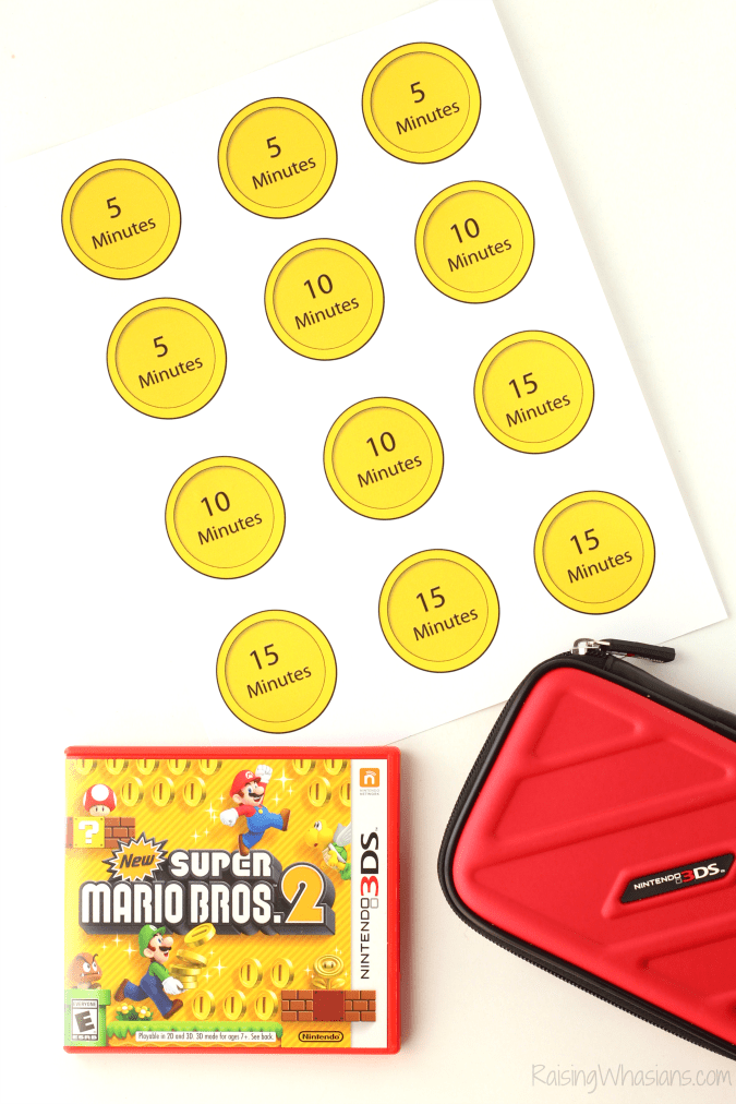 Setting Video Game Limits with Nintendo 3DS XL + Printable Rewards | Super Mario inspired rewards printable + full Nintendo 3DS XL review - Super Mario coin printable for parents - Free printable rewards for kids - #Parenting #MarioBrothers #FreePrintable