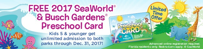 2017 Busch Gardens SeaWorld preschool card free admission all year