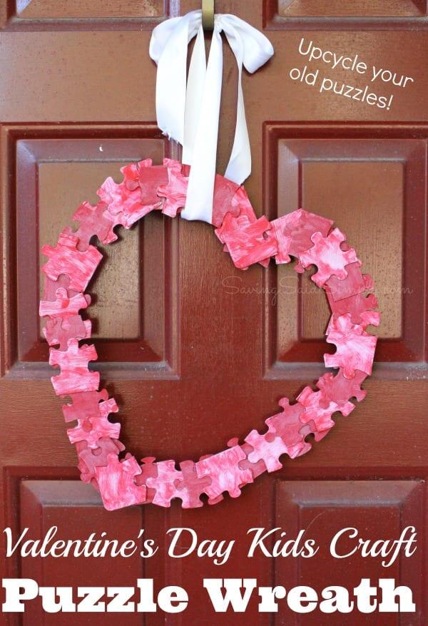 Valentines Day Kids Craft Puzzle Wreath Raising Whasians