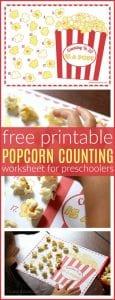 Free popcorn counting printable pinterest
