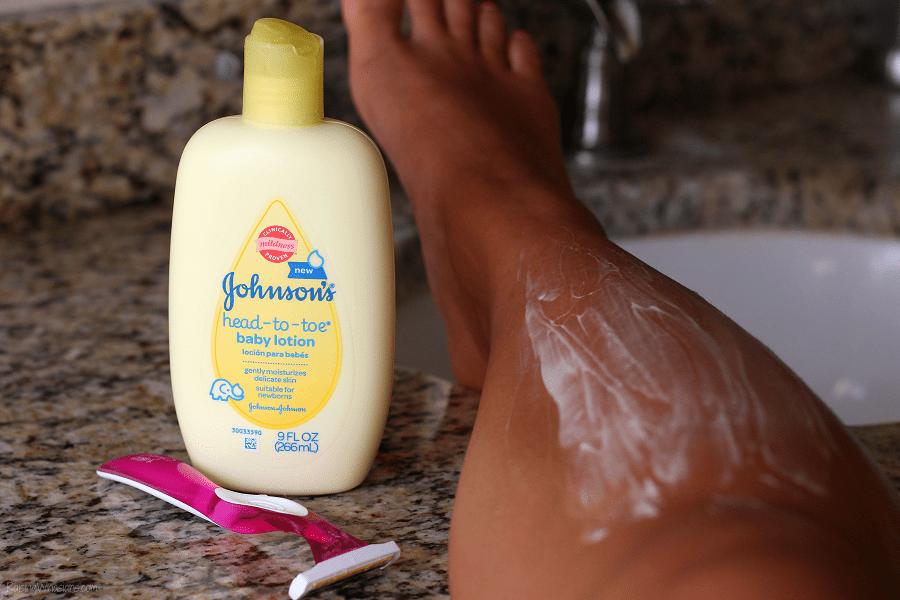 Baby lotion shaving hack
