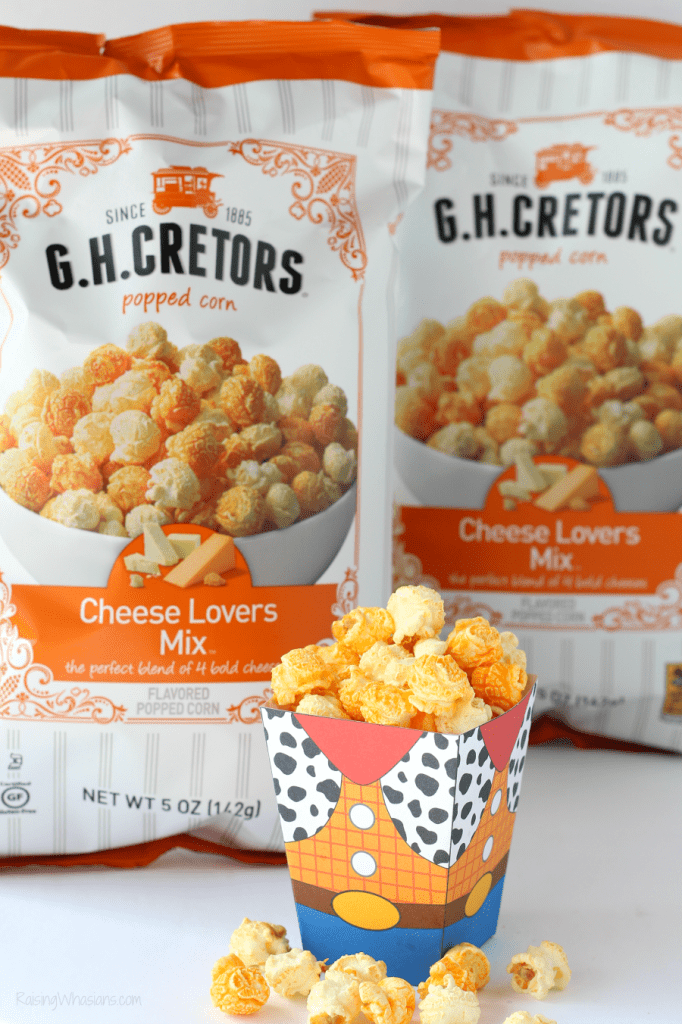 G.H. Cretors cheese lovers mix review Grab the family for these Easy Toy Story Movie Night Ideas! Your Disney bunch will love these simple Toy Story themed food ideas (including new G.H. Cretors Popcorn flavors) + FREE Printable Woody Popcorn Box! - #ToyStory #MovieNight #PartyPlanning