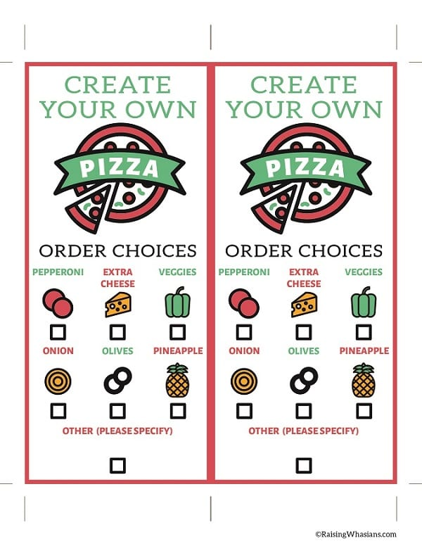 FREE Pizza Order Form Printable + Our Lunch Date with Daddy ...