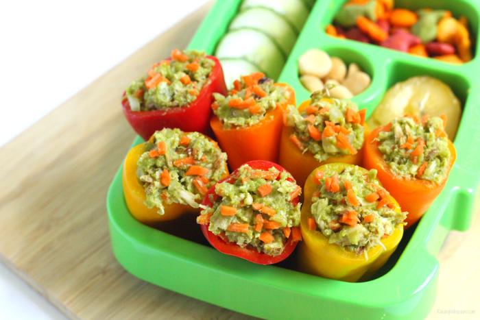 No mayo chicken salad stuffed peppers
