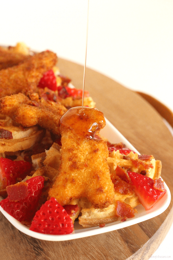 Kid friendly chicken and waffles nachos