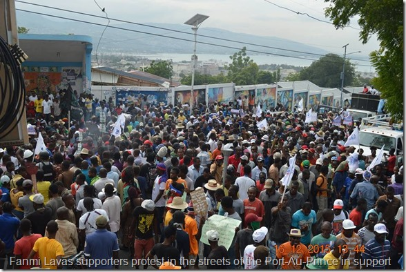 Fanmi Lavas supporters protest in the streets of the Port-Au-Prince in support