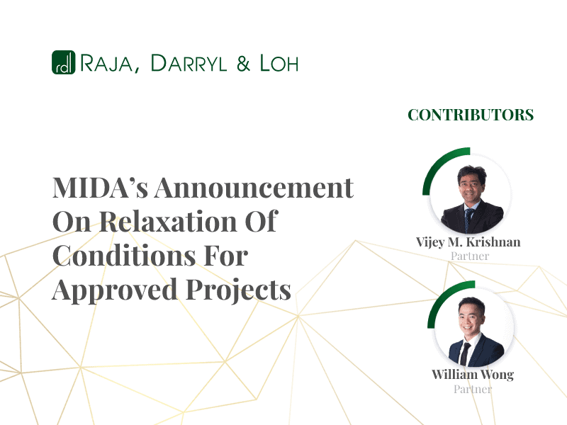 MIDA's announcment on the relaxation conditions for projects in Malaysia 2021