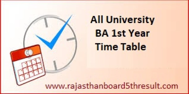 BA 1st Year Time Table 2020