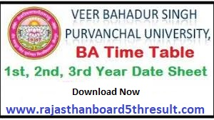 VBSPU BA Time Table 2021