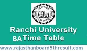 Ranchi University Time Table 2021