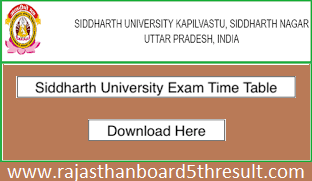 Siddharth University Time Table 2020