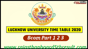 Lucknow University BCom Time Table 2020