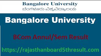 Bangalore University BCom Result 2020