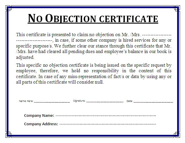no objection certificates