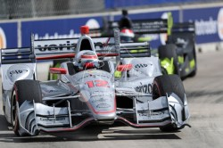 Jun 5, 2016; Detroit, MI, USA; Team Penske driver Will Power (12) of Great Britain rounds turn eight during the Chevrolet Dual in Detroit Race 2 at The Raceway at Belle Isle Park. Mandatory Credit: Raj Mehta-USA TODAY Sports