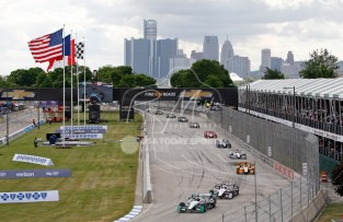Jun 5, 2016; Detroit, MI, USA; Team Penske driver Simon Pagenaud (22) of France leads the group during a caution in the Chevrolet Dual in Detroit Race 2 at The Raceway at Belle Isle Park. Mandatory Credit: Raj Mehta-USA TODAY Sports