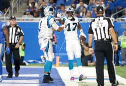 Oct 8, 2017; Detroit, MI, USA; Carolina Panthers wide receiver Devin Funchess (17) celebrates with quarterback Cam Newton (1) after the two combine for a touchdown during the second quarter against the Detroit Lions at Ford Field. Mandatory Credit: Raj Mehta-USA TODAY Sports
